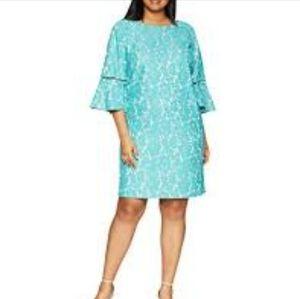 Jessica Howard aqua lace bell sleeve midi dress